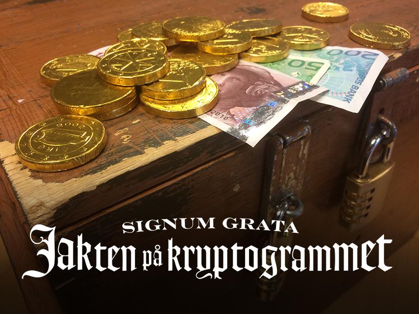 Signum Grata Kiste med penger og hvit logo