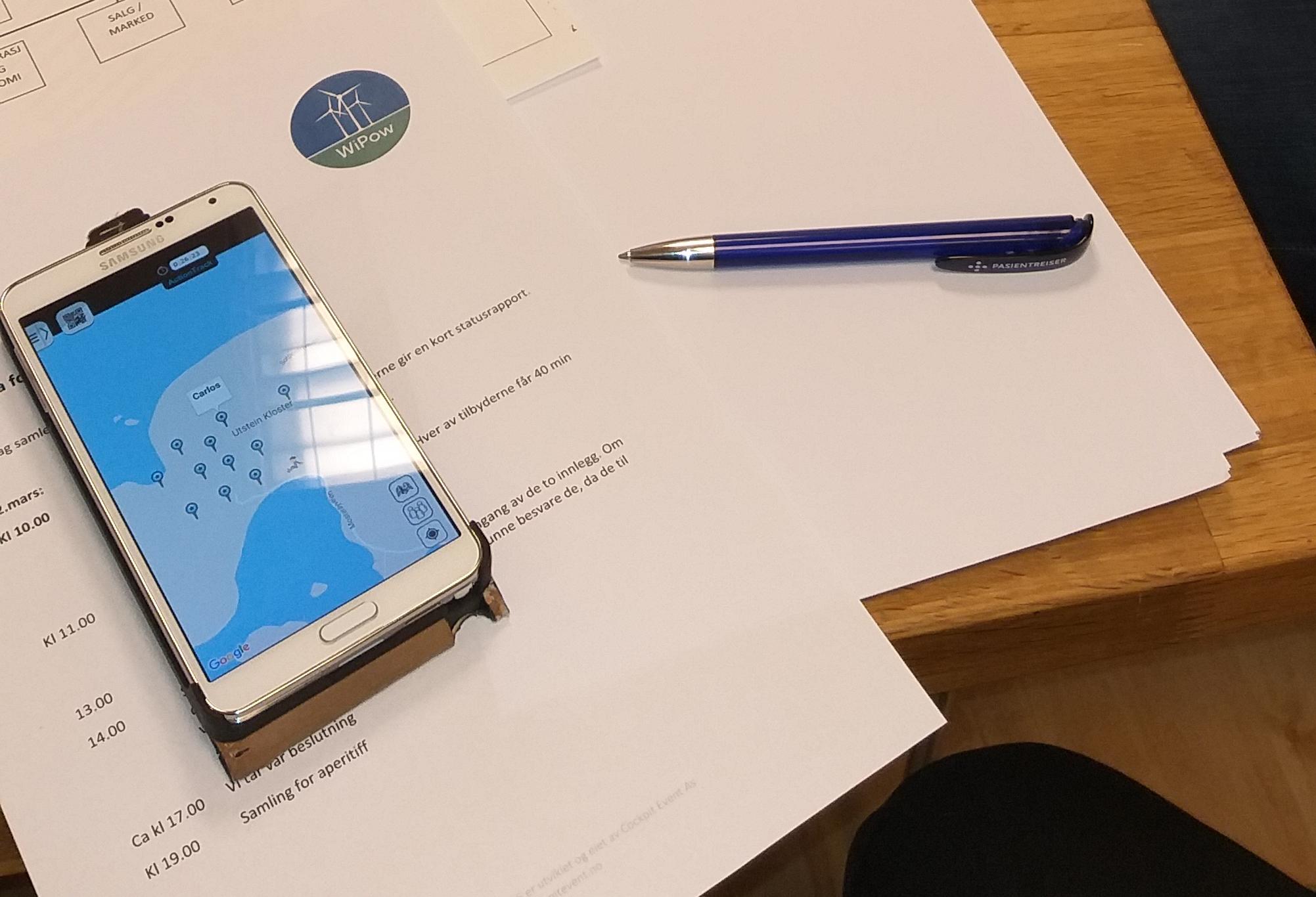 Telefon, penn og papir (WiPow)