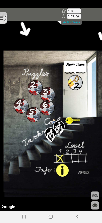 Escape Game - mobilskjerm viser oppgave