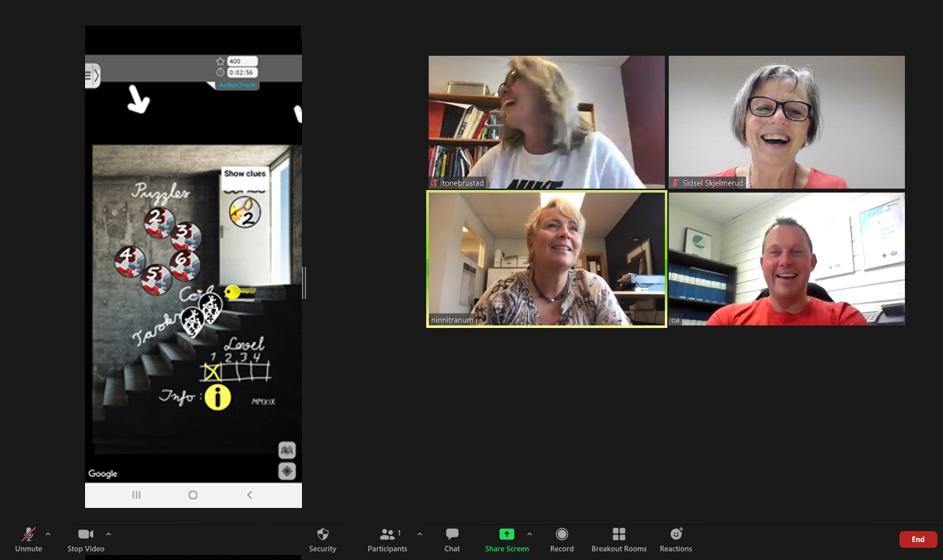 Escape Game - 4 deltagere i digital Zoom-samling, med mobilskjerm